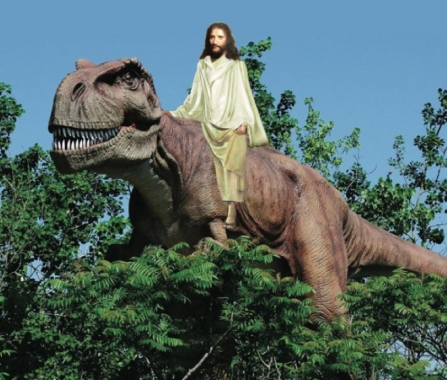 jesus riding dinosaur.widea