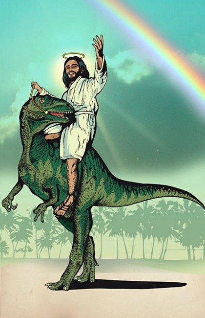 jesus trades decrepit white nag for rapturesaurus as part