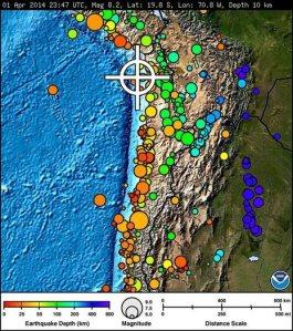 Magnitude eight earthquake off the coast of Chile
