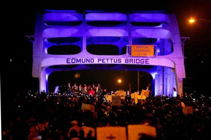 Members Of The Cast From Movie Selma March Over Edmund Pettus Bridge