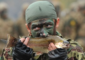 An Armenian military scout eats a live fish during a performance devoted to the celebration of the 20th anniversary of formation of the reconnaissance troops of the Armed Forces at Qanaqer military unit in Yerevan on November 10, 2012. AFP PHOTO / KAREN MINASYANKAREN MINASYAN/AFP/Getty Images
